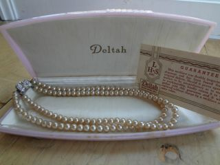 BEAUTIFUL VINTAGE DELTAH SIMULATED PEARL & CRYSTAL NECKLACE IN PINK