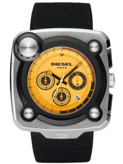 New Mens Diesel Watch Chronograph Black Canvas Yellow Dial Date Watch
