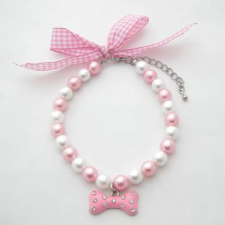White Pearls Pet Necklace Collar with Bone Necklace Dog Jewelry