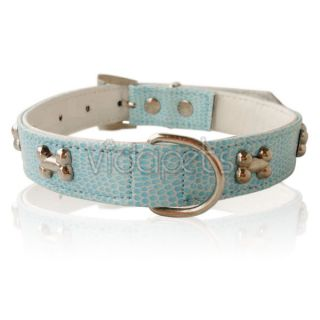11 14 blue leather bones dog collar small medium casual