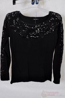 Dolce Cabo Sequin Sweater Womens Black Large