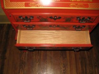 Oriental Regency Red Gold Decorated Drop Lid Secretary Desk