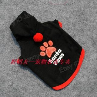 Pet Dogs Supplies Santa Paws Black Vest Clothes with Hat Costumes T