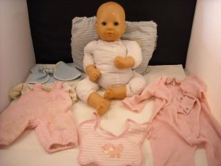 Zapf Doll Baby w Open Close Eyes Pillow Bottle