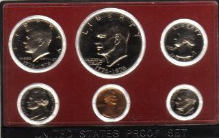 US Coins 1975 Original Proof Set 6 Coins w Box Ike Dollar