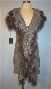 1x Dolce Cabo Gray Grey Long Draped Ruffle Front Raccoon Fur Sweater