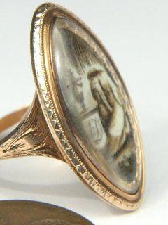 English 15K Gold Sepia Mourning Locket Ring C1785 Ann Drummond