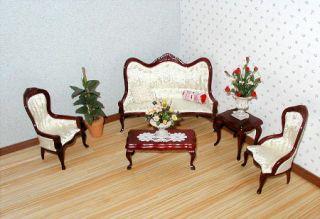 Dollhouse Miniature Furniture Elegant 5pc Victorian Living Room Set