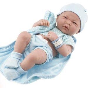 Berenguer 14 La Newborn Blue Polkadot Romper Vinyl Real Boy JC Toys