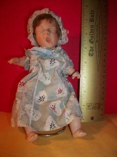 VINTAGE Gi Go Toy DOLL Vinyl BEAN BABY Dress BONNET Outfit GIGO Green