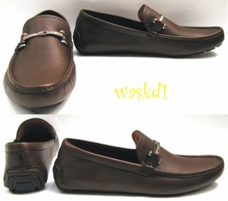 Brown pebbled LEATHER horsebit DRIVING Moccasin shoes NIB Authentic