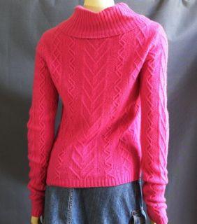 Preston & York Premiere Pink 100% Cashmere Chunky Turtleneck Sweater