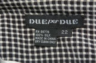 Womens Due per Due Black White Checked Silk Blazer Jacket Plus Size 22