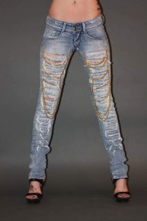 Met Jeans Angel Ripped Front with Chains Skinny Leg Jeans