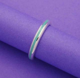 Tiffany Co Sterling Silver Blue Enamel Ring Size 6