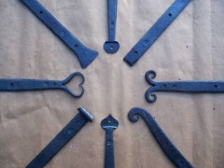 Blacksmith Forged 36 inch Wrought Iron Strap Hinges