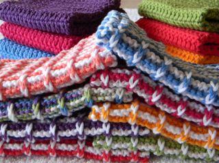 Dishcloth Hand Knit COTTON kitchen cloth or hot pad dish cloth Organic