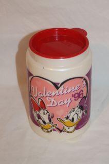 Walt Disney World Valentines Day 96 Donald Daisy Duck Travel Mug Cup