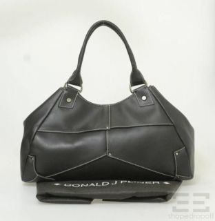 Donald J Pliner Black Leather White Top Stitch Handbag