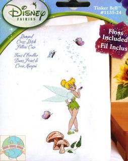 Cross Stitch Kit ~ Disney Fairy Tinker Bell Disney PILLOWCASE W/Floss