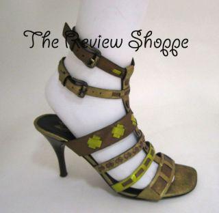 Donald Pliner Never Strappy Sandals Heels Shoes Metallic Green Bronze