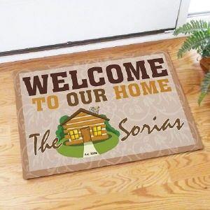 Welcome To Our Home Doormat Family Name Log Cabin Doormat Door Mat
