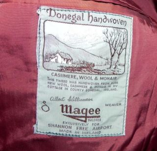 Vtg Magee Donegal Cashmere Wool Mohair Houndstooth Jacket Blazer Sport