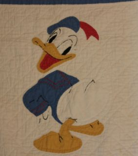 Antique Vintage Disney Donald Duck Applique Baby Crib Quilt