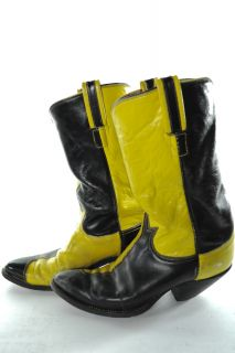 Vintage Tony Lama 2 Tone Leather Cowboy Boots Mens 8 D