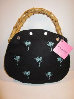 Donna Dixon Bermuda Bag Handbag Interchangeable Cover Black w Palm