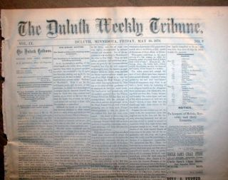 Original 1878 Duluth Minnesota Newspaper with Dog Control Ordinance