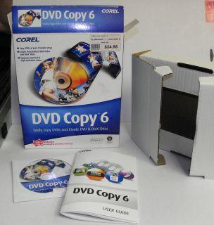 Corel DVD Copy 6 Software New Opened Box Copy DVDs Create DVD DIVX
