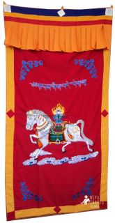 WindHorse Embroidery Tibetan Buddhist SpunSilk Door Curtain NEPAL