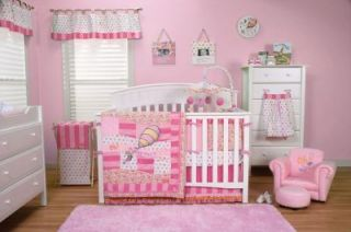 DR SEUSS OH THE PLACES YOULL GO PINK GIRL 4PC BABY CRIB BEDDING SET
