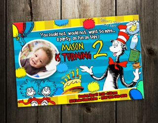 DR. SEUSS BIRTHDAY PARTY INVITATION CAT IN THE HAT CARD CUSTOM BABY