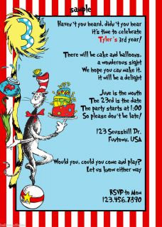 Dr. Seuss Cat in the hat birthday party invitation baby shower