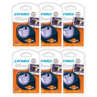 6PK Dymo #16952 LetraTag CLEAR (Transparent) Letra Tag LT 100 Label