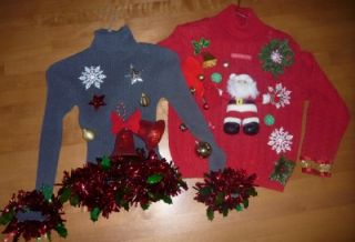 Ugly Christmas Sweater Contest Size Womens Medium Bells Santa Claus