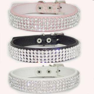 Bling Rhinestone Dog Collars Crystal Diamond Pet Dog Puppy PU Leather
