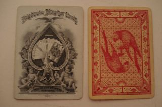 ANTIQUE DOUGHERTY TRIPLICATE PLAYING CARDS REVERSIBLE PARROTS