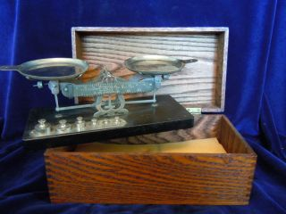 Burke James No 8 Rexo Scale avoirdupois w oak wood box Chicago