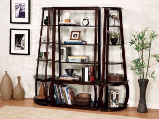 Cappuccino Display Bookcase Wall Unit Free s H