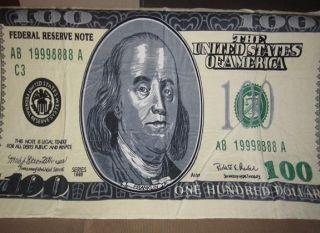 New One Hundred 100 Dollar Bill Bath Beach Pool Towel US USA Money Ben
