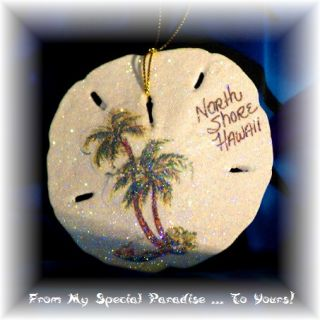 Hawaiian Sand Dollar Christmas Ornament Palm Trees North Shore Haleiwa