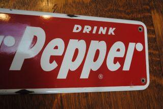 antique vintage old porcelain Drink Dr Pepper wall Sign red & white 5