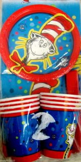 Dr Seuss CAT IN THE HAT PARTY PAK FOR 8 Birthday Party Supplies