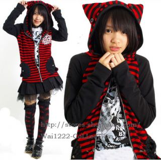 Kera STRIPED Kitty EAR Hoodie BLK +RED JACKET M L