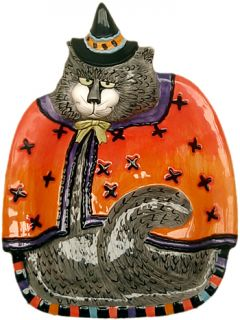 Fitz Floyd Kitty Witches Halloween Canape Plate xS