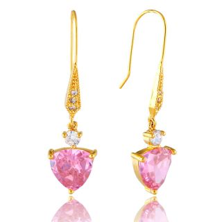 DANGLE DROP PINK SAPPHIRE GOLD GP EARRINGS EAR RING ZT 1207PIN