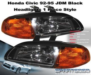 92 93 94 95 Honda Civic EG Sedan 4DR 1pc JDM Headlight Black Amber